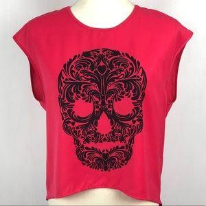 Divided skull crop shirt